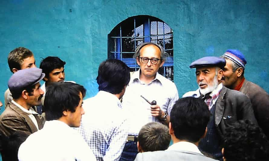 Cyril Mango, centre, consulting villagers outside the mosque at Yürme, Turkey, the site of remains of a basilica of St Michael, 1979.