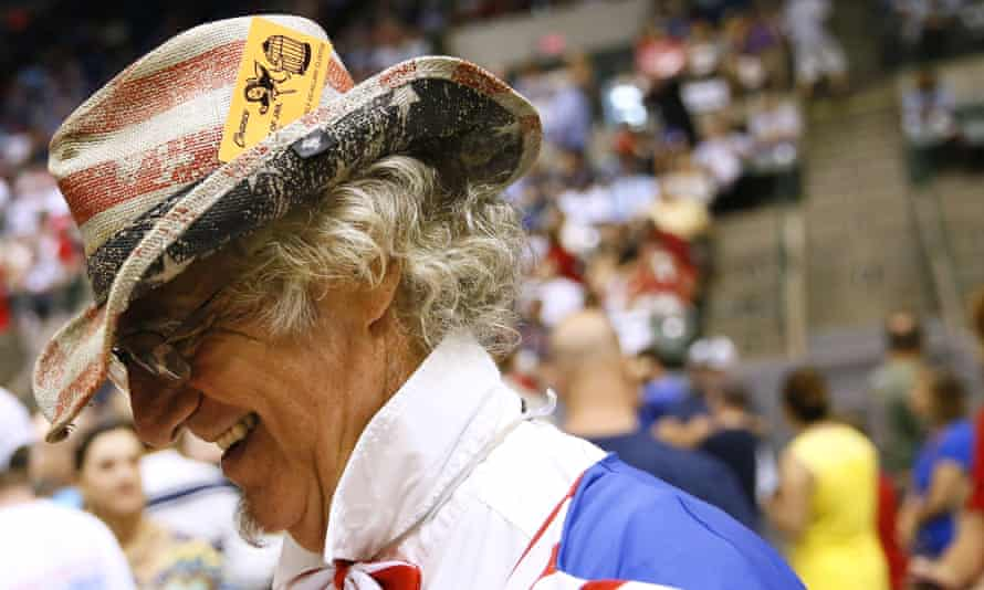 A Donald Trump supporter from Louisiana at a rally in neighbouring Mississippi.