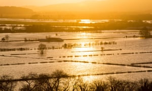 Flood waters in the Lyth Valley in Cumbria after recent storms