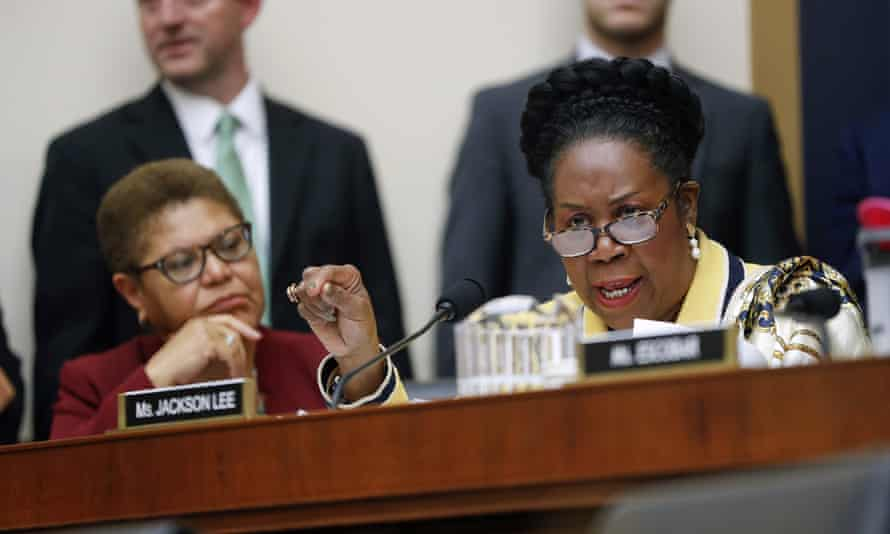 Sheila Jackson Lee speaks during a hearing about reparations for the descendants of slaves before a House judiciary subcommittee.