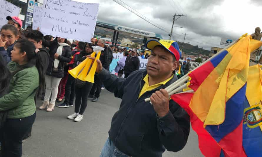 Hundreds of locals take to the streets of Tulcán to protest the arrival of thousands of Venezuelan migrants.