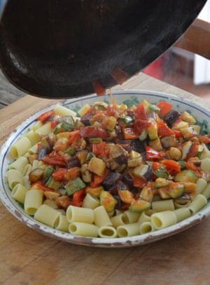 Mezze maniche with chunks of aubergine, courgette, red pepper and mozzarella.