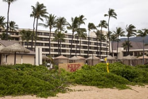 A 'keep out' sign at the Sheraton Maui in April.