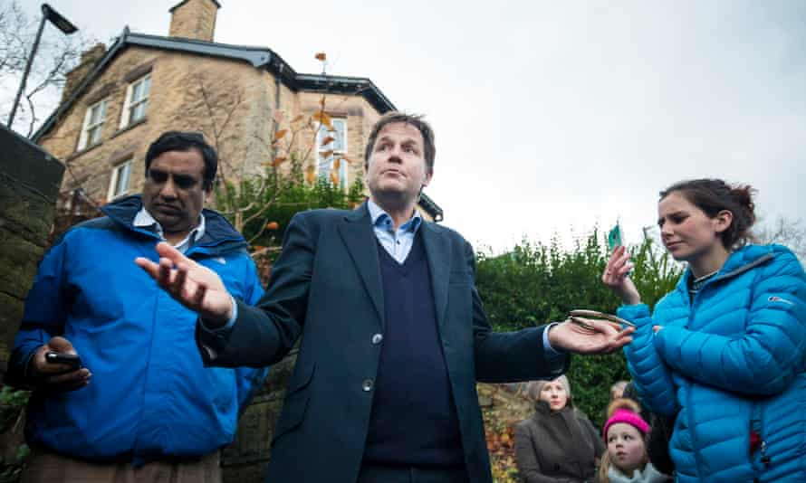 Nick Clegg speaks with members of the public after the tree felling in Rustlings Road, Sheffield