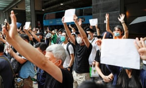 Protests in Hong Kong against the new national security law.