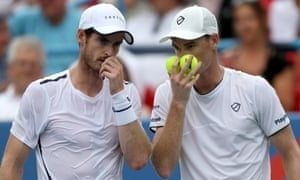Andy Murray and his brother Jamie in doubles action this year.