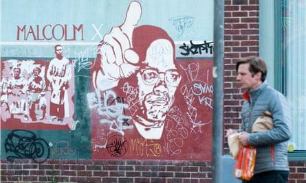 A Malcolm X mural is seen the into Alberta Arts District in Portland Oregon.