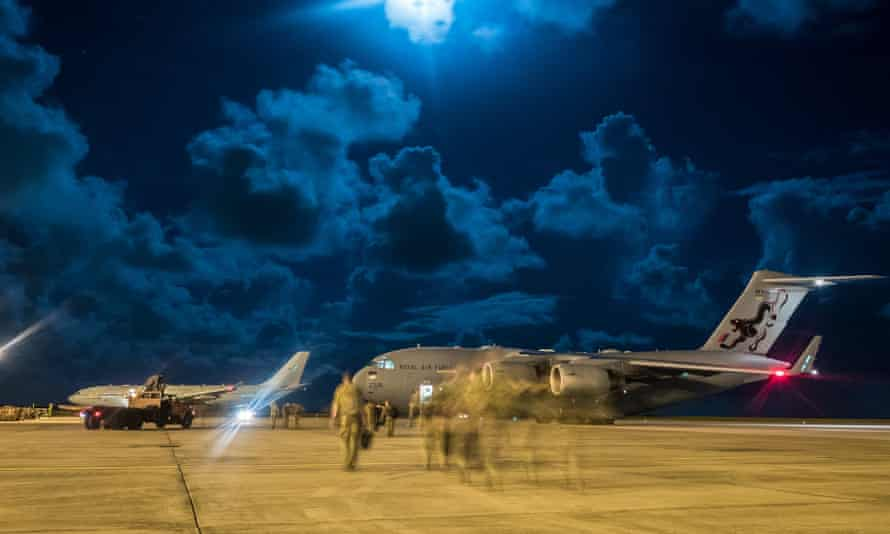 A joint taskforce of RAF, marines, army and navy personnel delivering aid to Caribbean islands affected by Hurricane Irma in August 2017.