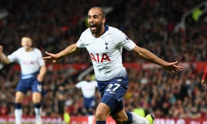 Manchester United v Tottenham Hotspur - Premier League<br>MANCHESTER, ENGLAND - AUGUST 27:  Lucas Moura of Tottenham Hotspur celebrates after scoring his team's second goal during the Premier League match between Manchester United and Tottenham Hotspur at Old Trafford on August 27, 2018 in Manchester, United Kingdom.  (Photo by Clive Mason/Getty Images)