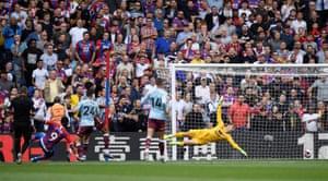 Crystal Palace's Jordan Ayew scores their first goal