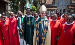 The archbishop of Canterbury, Justin Welby, with archbishop Eliud Wabukala in Kenya in 2013