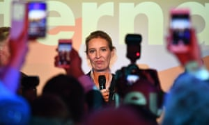 Alice Weidel, co-top candidate for the general elections of the German right-wing populist party 'Alternative for Germany' (AfD) speaks to journalists and supporters at a night club where right-wing populist party AfD holds their election event in Berlin