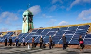 Solar panels on the roof of the Priory school in Lewes, East Sussex