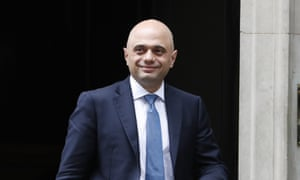 The home secretary, Sajid Javid, leaves 10 Downing Street following the cabinet meeting.