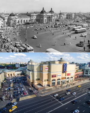 A view of Kursky railway station square in 1958; built over in 2015. Moscow Russia