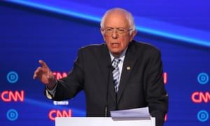 Democratic Presidential Candidates Participate In Fourth Debate In Ohio<br>WESTERVILLE, OHIO - OCTOBER 15: Sen. Bernie Sanders (I-VT) speaks during the Democratic Presidential Debate at Otterbein University on October 15, 2019 in Westerville, Ohio. A record 12 presidential hopefuls are participating in the debate hosted by CNN and The New York Times. (Photo by Win McNamee/Getty Images)