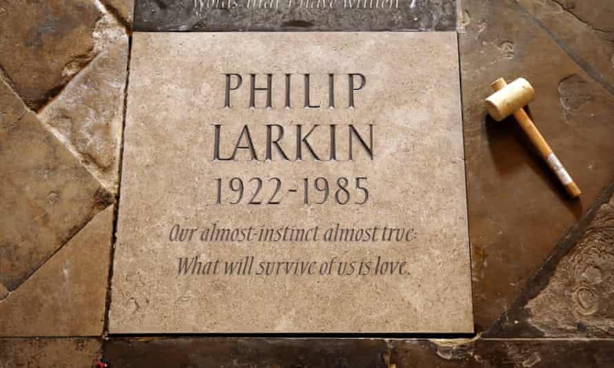 Memorial stone for Philip Larkin in Poet's Corner at Westminster Abbey.