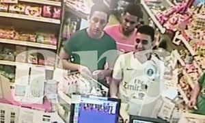 A CCTV picture made available by Spanish newspaper Ara shows (from left) Omar Hychami, Houssaine Abouyaaquob and Moussa Oukabir laughing at a petrol station hours before their attack on Cambrils last week.