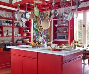 Red alert: the Japanese laquerwork-inspired kitchen.