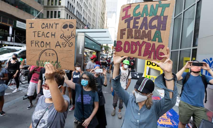 Teachers protest against school reopening amid coronavirus pandemic in New York on Monday.