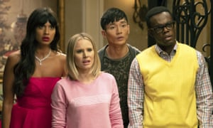 Oh fork, we're finished ... Jameela Jamil, Kristen Bell, Manny Jacinto and William Jackson Harper.