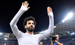 Mohamed Salah celebrates in Rome after Liverpool reached the Champions League final, where they will face Real Madrid.