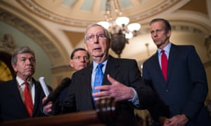 Mitch McConnell speaks about a government funding bill at Capitol Hill in Washington DC on 18 December.
