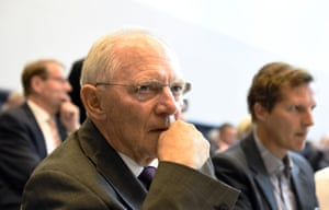 German Finance Minister Wolfgang Schaeuble waits for the start of a parliamentary group meeting of the Christian Democratic Union party (CDU) in Berlin on July 16, 2015 the day before German lawmakers vote in the Bundestag on entering into negotiations on the new aid package for Greece. AFP PHOTO / TOBIAS SCHWARZTOBIAS SCHWARZ/AFP/Getty Images