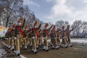 Srinagar, Indian controlled KashmirIndian paramilitary soldiers march during the full dress rehearsal for the Republic Day parade