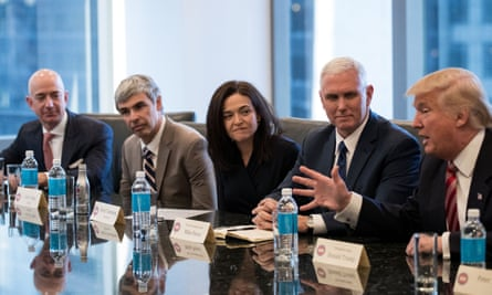 Jeff Bezos of Amazon, Larry Page of Alphabet, Sheryl Sandberg of Facebook, and then vice-president elect Mike Pence listen to Donald Trump in December.