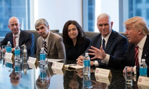 Trump held a meeting with tech leaders including Sheryl Sandberg of Facebook (center) and Larry Page of Alphabet/Google (second from left) in December.