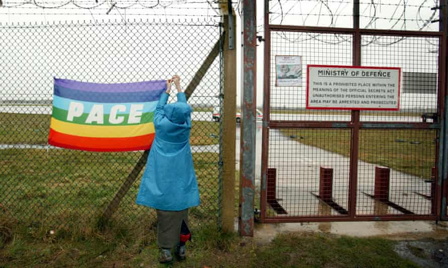 Anti-war protesters at the peace camp at RAF Fairford in Gloucestershire.