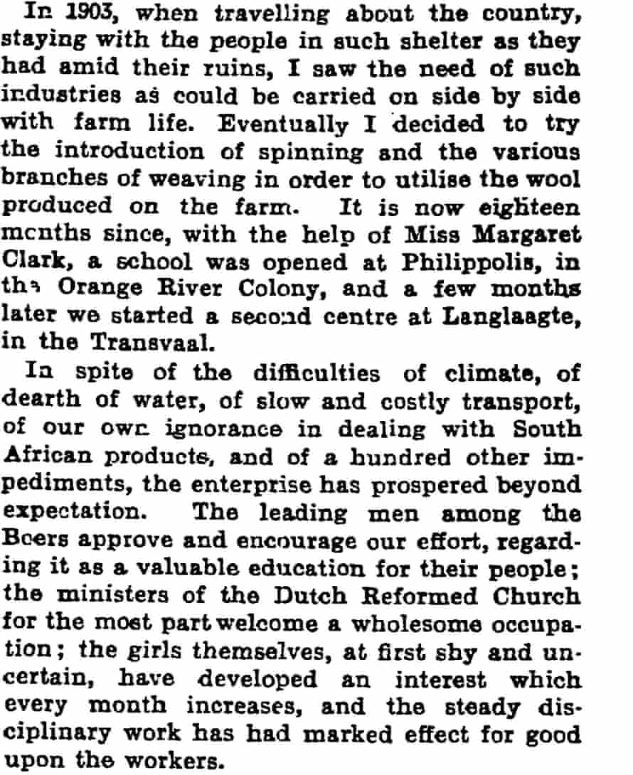 A good work in South Africa. The Manchester Guardian, 11 December, 1906