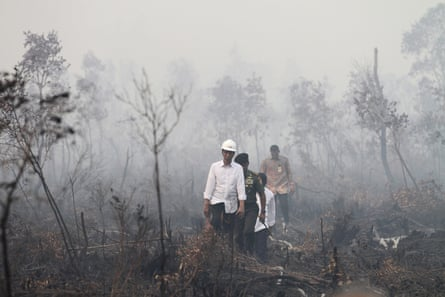 Indonesian President Joko Widodo visits the burned forest at Pulo Keronngan village in Ogan Komering Ilir, South Sumatra province