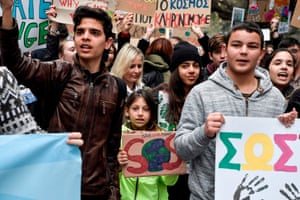 Greek demonstrators march in Athens