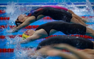 Seebohm competes in the first semifinal of the women's 100 metres backstroke at the Rio Games