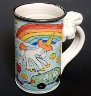 The farting unicorn cartoon on one of Tom Edwards' mugs. He wants Elon Musk to compensate him for the work.