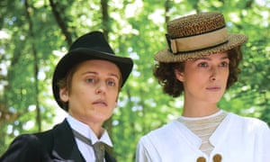 Studiedly outrageous … Mathilde De Morny (Denise Gough, left) and Colette (Keira Knightley).