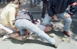 An England fan is arrested by French police in Marseille in 1998.