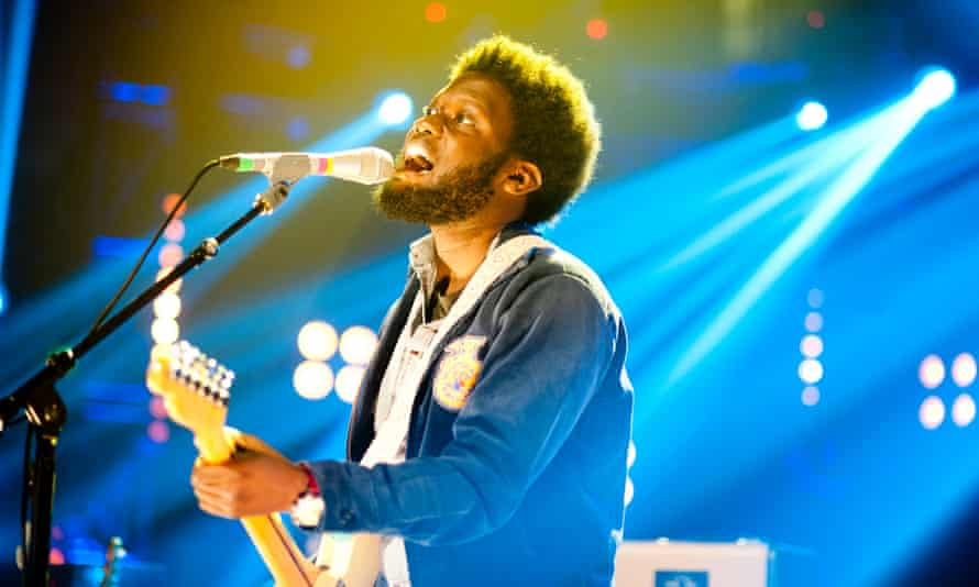 Michael Kiwanuka, whose Black Man in a White World makes the list this week, sings at the Mercury Prize awards in 2012