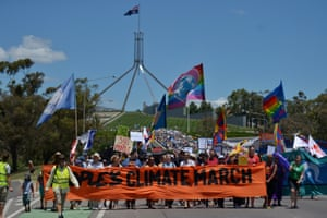 Marchers in Canberra, Australia, made their way to the city's Parliament House