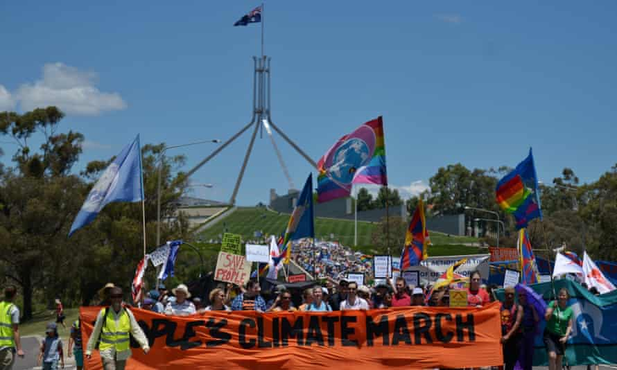 Climate change supporters during the People's Climate March held in Canberra on Sunday.