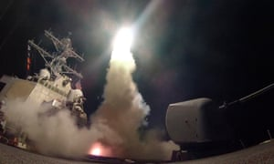 Tomahawk cruise missile launching from a US destroyer.