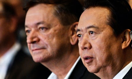 Interpol vice-president Alexander Prokopchuk (L) with the president, Meng Hongwei, in 2017