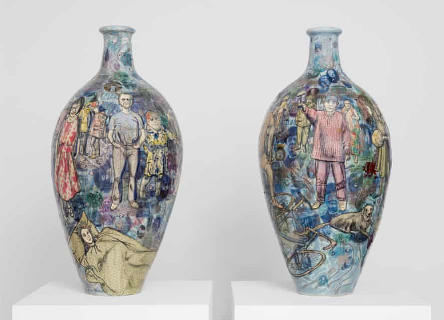 Grayson Perry's Matching Pair. The leave pot (right), and the remain pot (left)