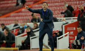 The Chelsea head coach, Frank Lampard, on the touchline at Anfield. His side need a point against Wolves at Stamford Bridge on Sunday to secure a top-four finish.