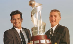 Paul Franks (right) with England's captain, Owais Shah, show off their trophy on arrival back at Heathrow in 1998.