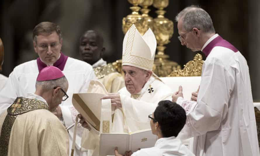 Pope Francis leads the ordination of four new bishops during a ceremony at the Vatican on 4 October 2019.