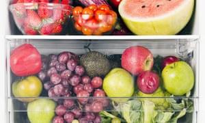 Fruits and vegetables inside fridge