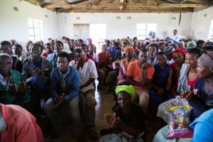 An overflowing community meeting where locals oppose the proposed titanium mine on South Africa's Eastern Cape.